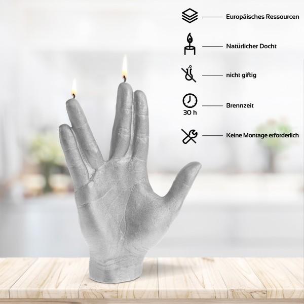 Spock Hand Kerze Silber