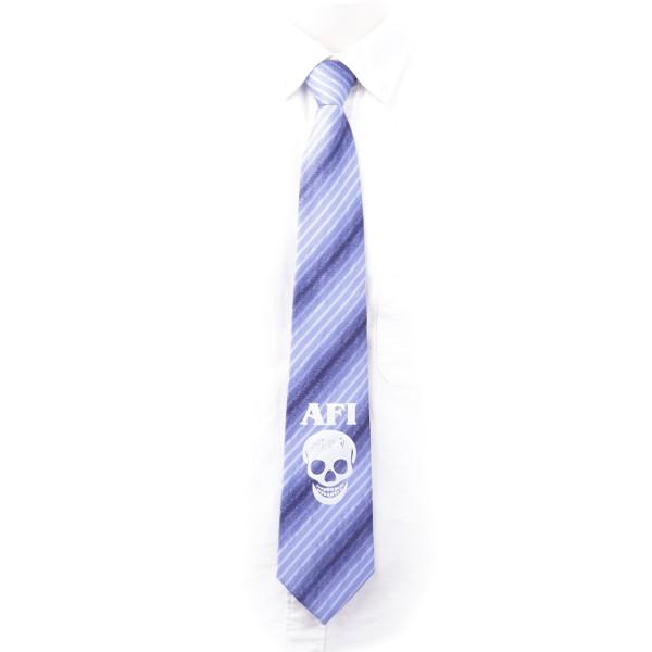 Krawatte Blau gestreift mit einem weißen Totenkopf Muster