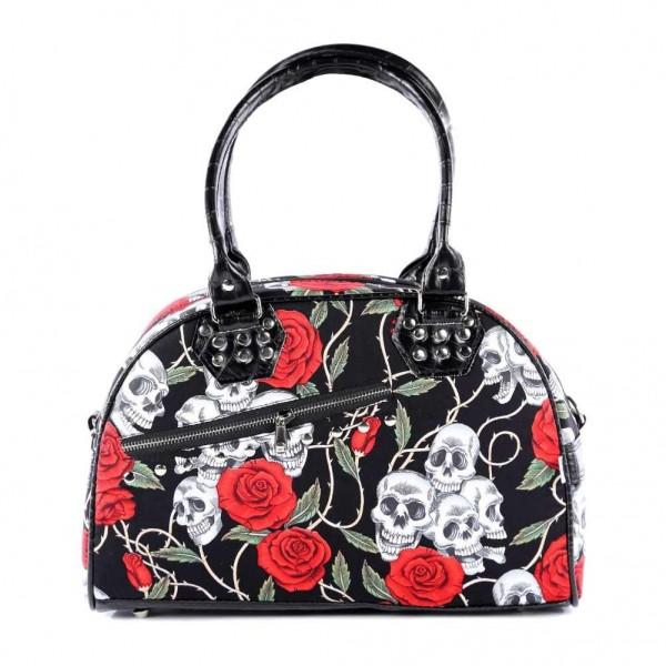Totenkopf Rosen Handtasche mit Schultergurt
