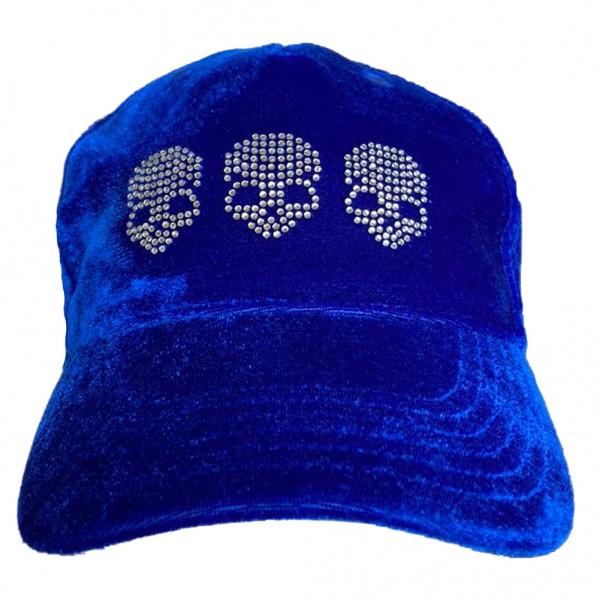 Rock Daddy Blaue Samt Cap mit drei Totenköpfen aus Strass
