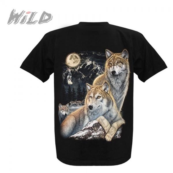 Wild Motiv Shirt Schwarz Liegende Wölfe in der Natur