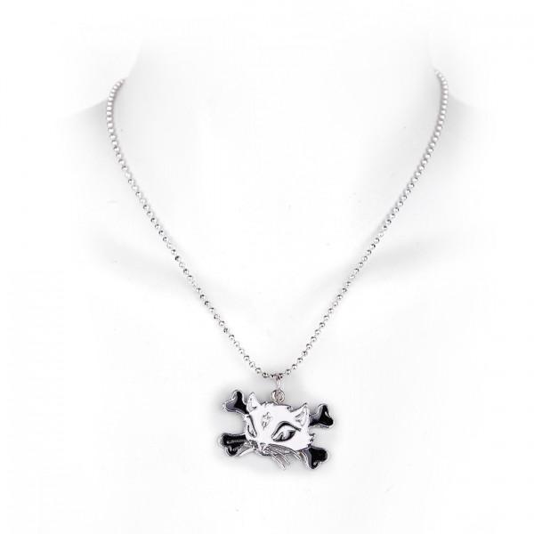 Kitty Cat Girly Halskette in Schwarz Weiß