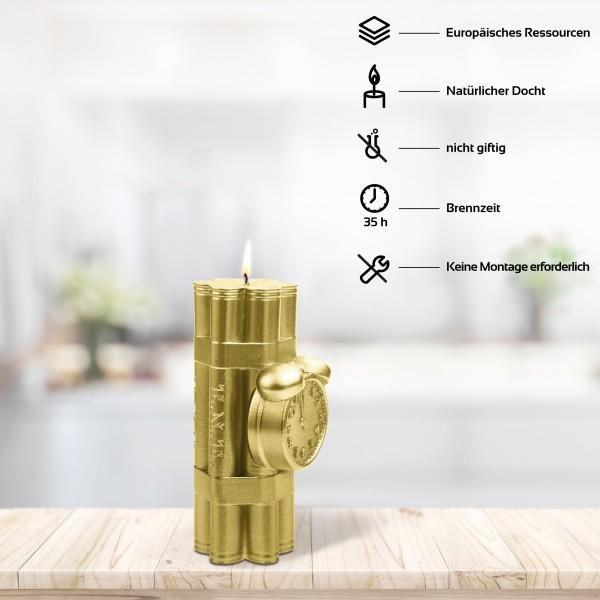 Goldene Premium Dynamit Deko Kerze