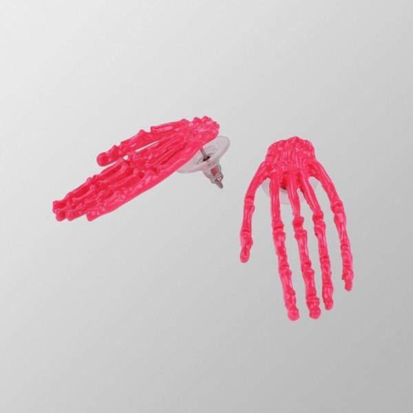 Creepy Skelett Hand UV Pink Ohrringe