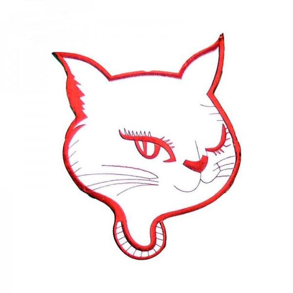 XXL Kitty Cat Aufbügler Rot Weiß