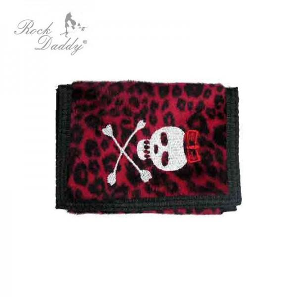 Roter Leopard Geldbeutel mit Totenkopf Stickerei