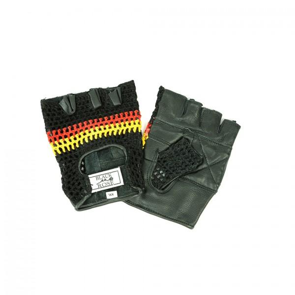 Schwarze Leder Handschuhe mit Abgestepptem Bunten Netzmuster