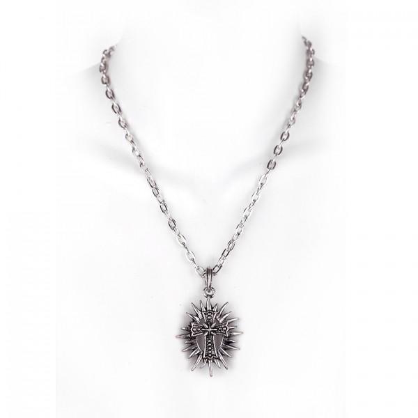 Metall Halskette mit Anhänger - Kreuz mit Strahlenkranz