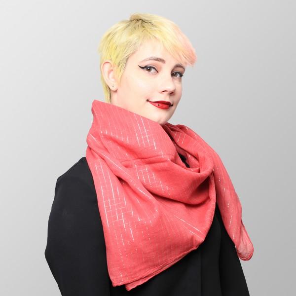 Lurex Halstuch aus Baumwolle Light Rot