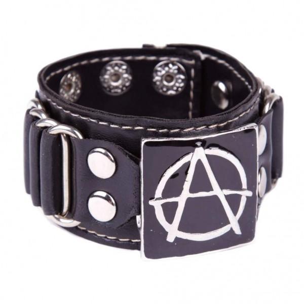 Kunstleder Armband mit metallschnalle - Anarchy Schwarz
