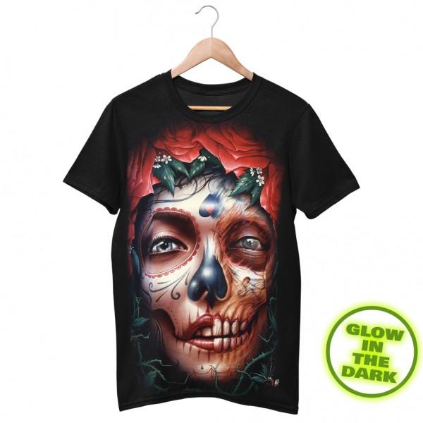Glow in the Dark T-Shirt Schwarz La Catrina Totenschädel