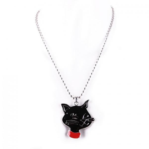 Metallkette mit Anhänger - Schwarze Katze