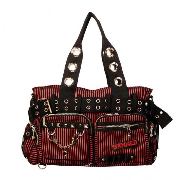 Banned Schwarz Rot/Pink Gestreifte Daybag