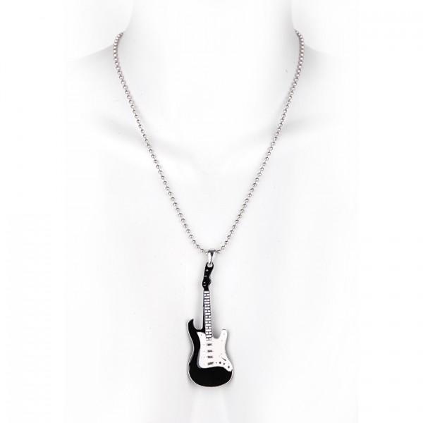 Metallkette mit Anhänger - Gitarre - Schwarz / Weiß