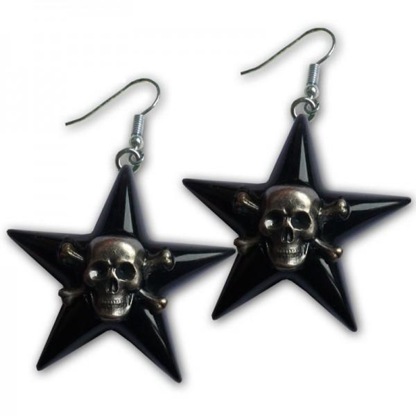 St.Pauli Totenkopf Stern Ohrring Black Premium