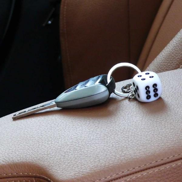 Weißer Würfel Schlüsselanhänger