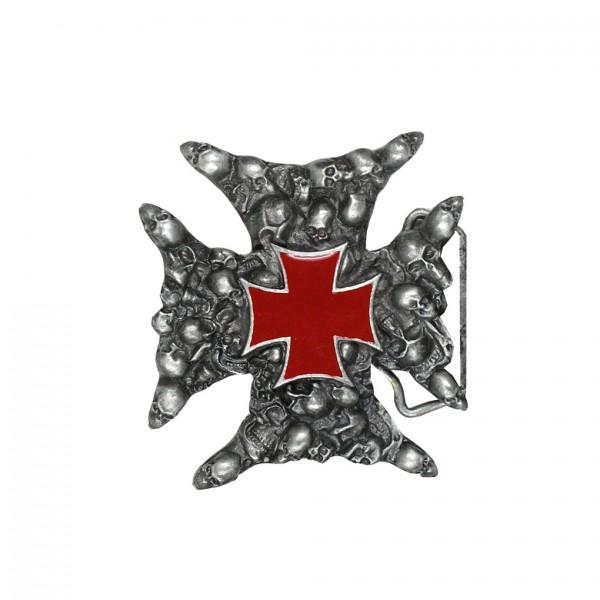 Gürtelschnalle Eisernes Kreuz aus Totenschädeln mit Rotem Kreuz