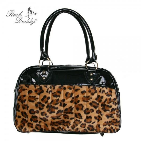 Handtasche aus Lack mit Braunem Leofellaplikation