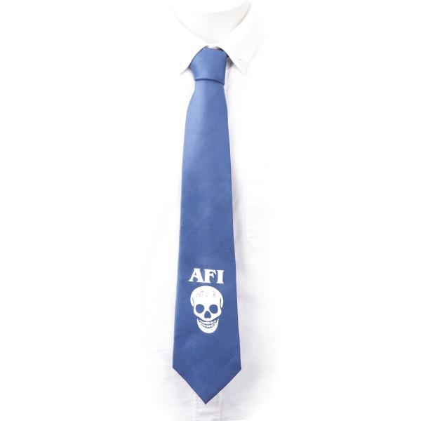 Krawatte in blau mit einem weißen Totenkopf und AFI Schriftzug