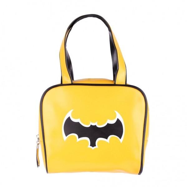 Gelbe Bowling Handtasche mit Schwarzer Fledermaus