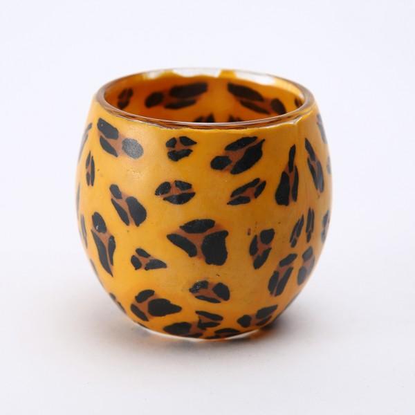Fimo Glaswindlicht handgemacht orange mit Leopardenmuster