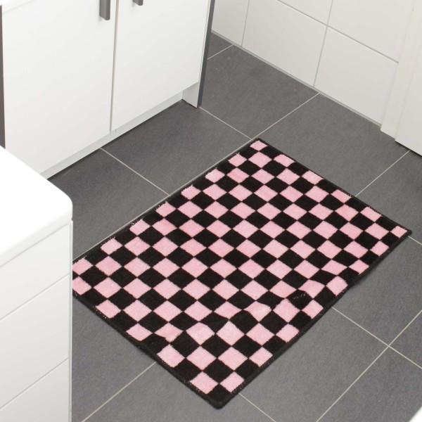 Schachbrett Badematte Schwarz Pink