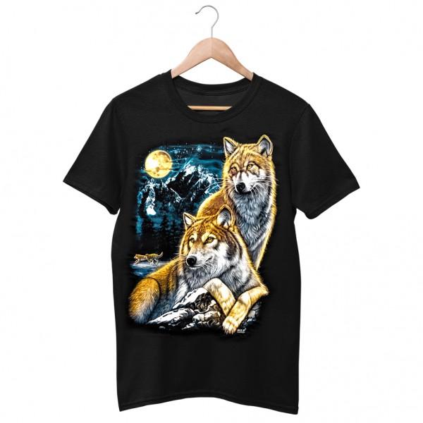 Wild Motiv Shirt Schwarz Wachender Wolf