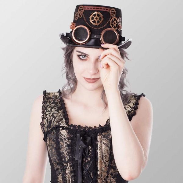 Bronze Retro Steampunk Zylinder mit Brille Zylinder Hut Schwarz
