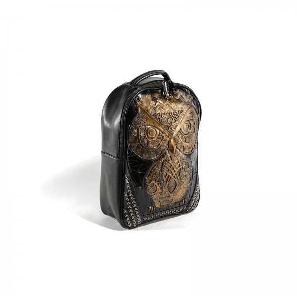 Premium 3D Eulen Rucksack in Gold
