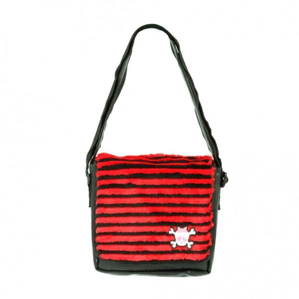 Schwarz Rot Gestreifte Pelz Umhänge Tasche mit Totenkopf Patch