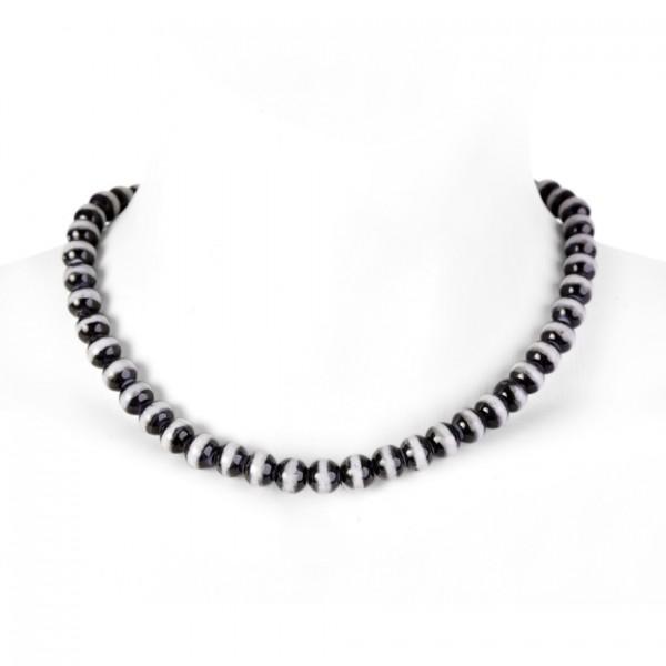 Fluoreszierende künstliche Perlenhalskette in Schwarz