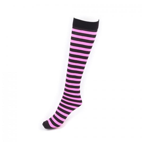 Pink Schwarz Gestreifte Knie Socken