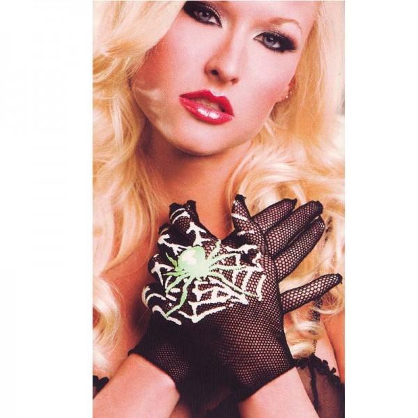 Lady Netz Creepy Handschuhe Spinnennetz Glow in the Dark