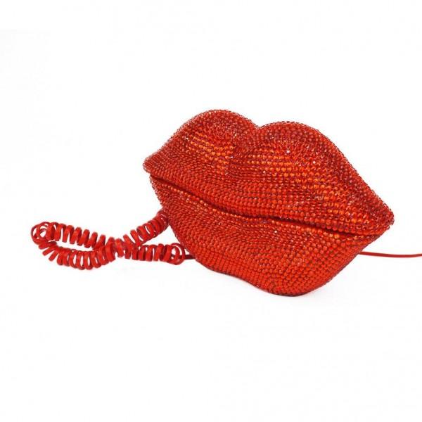 Rotes Disco Lippen Telefon mit Strass Besetzt
