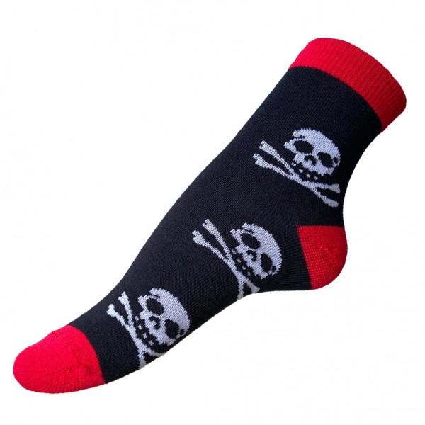 Jolly Roger Totenkopf Socken Schwarz Rot one size