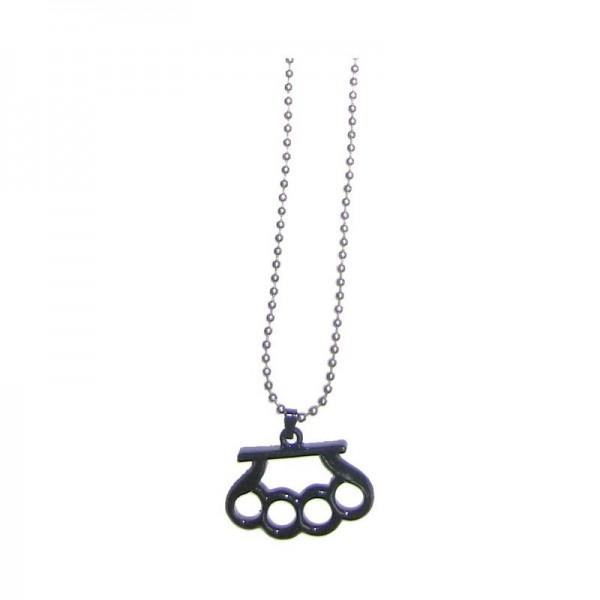 Halskette mit Schlagring Anhänger - Schwarz
