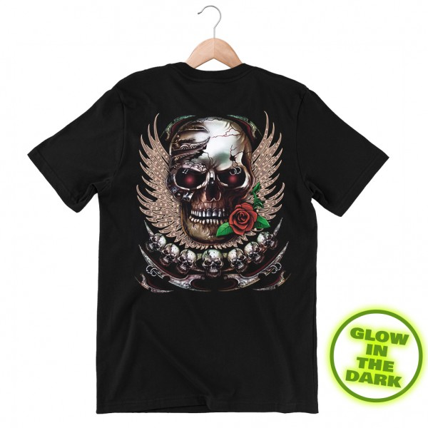Glow in the Dark Shirt Schwarz Metallschädel mit Rose