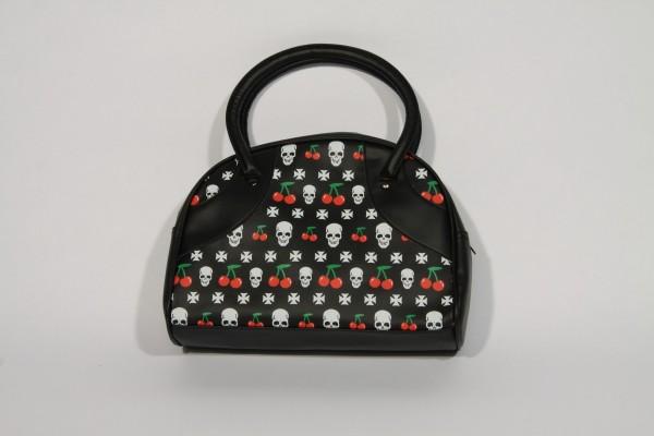 Bowling Bag in schwarz mit Totenköpfen, Kreuzen und Kirschen