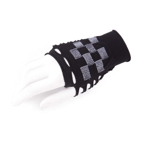 Fingerlose Handschuhe Karo Schwarz Weiß