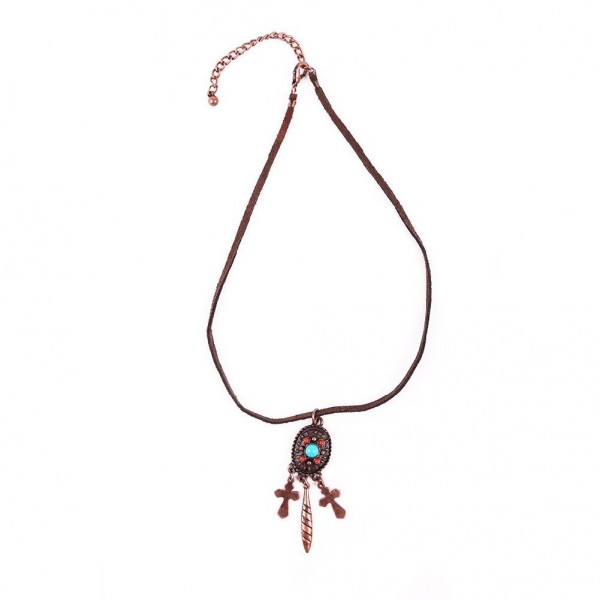Lederkette mit Indianer Amulett und Federn