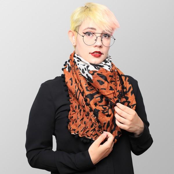 Baumwolltuch im Klassik Leopard Braun mit Schwarzen Bommeln