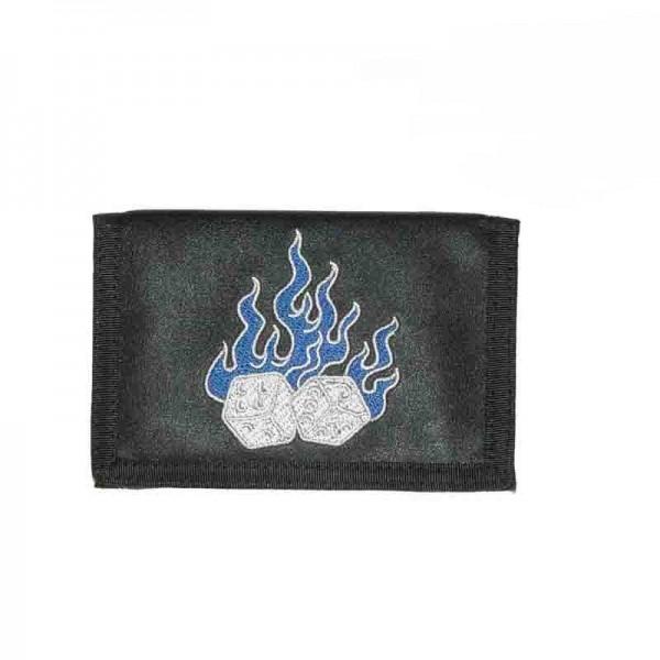 Geldbörse mit Flammen Würfel und Kette