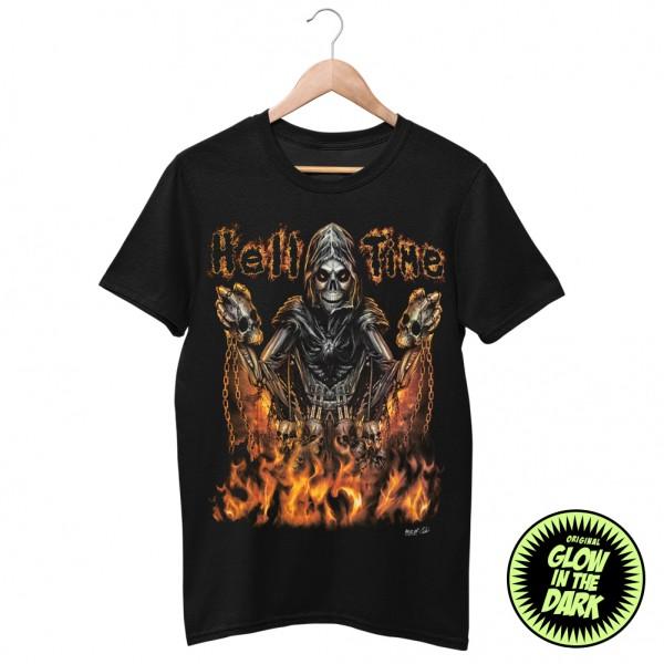 Glow in the Dark Shirt Schwarz Höllen Zeit Ketten Skelett