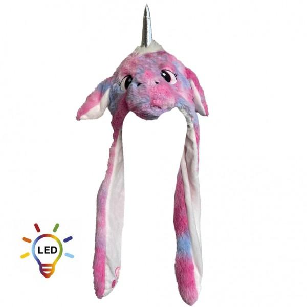 Pinke Einhorn Wackelohrmütze mit LED´s