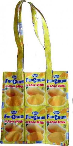 Gelbe Recycling Fruchtsaft Einkaufstasche