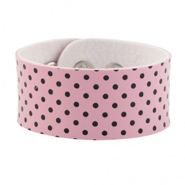 Kunstleder Armband Pink mit Schwarzen Punkten