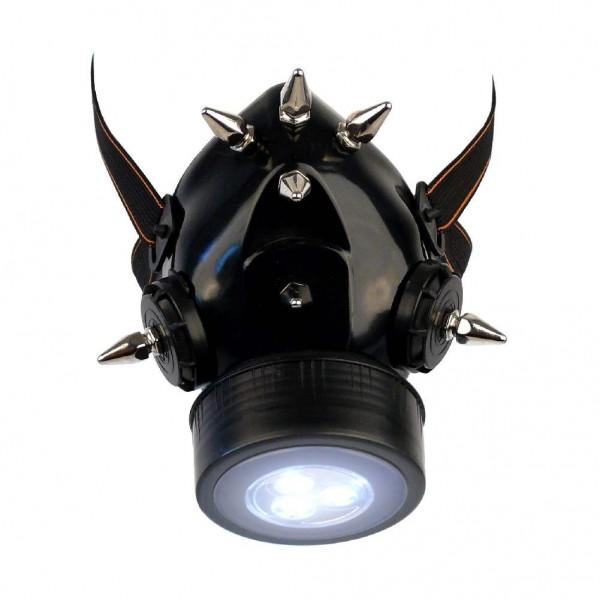 Gasmaske mit Hexagonal Spikes und LED Licht
