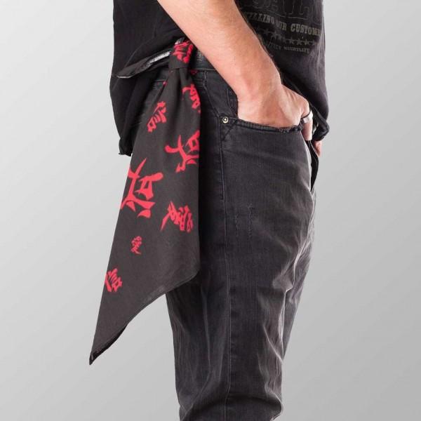 Bandana Halstuch Schwarz Chinesische Schriftzeichen 55 cm x 55 cm