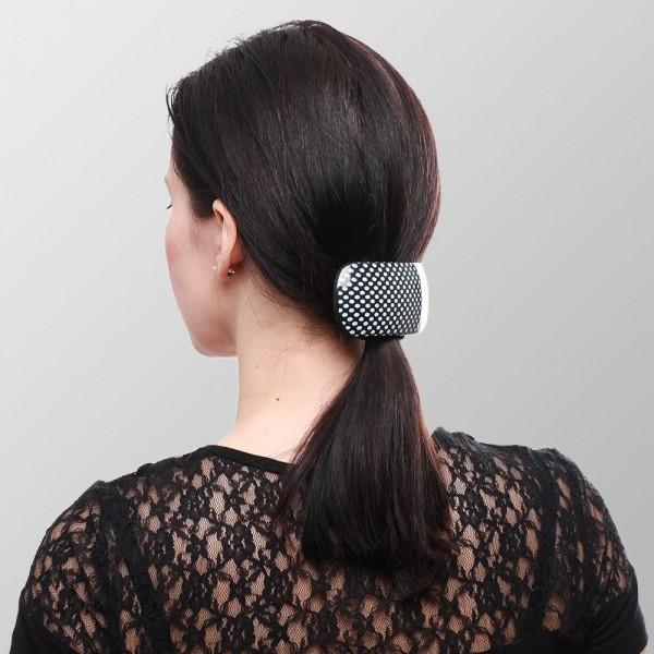 Haarspange Retro 6er Display - Gepunktet - 3x Weiß / Schwarz und 3x Schwarz / Grau