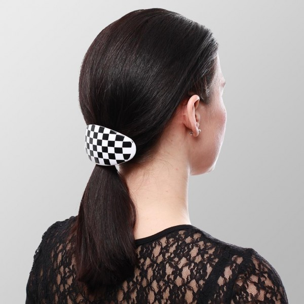 Karierte Haarspange Retro Oval